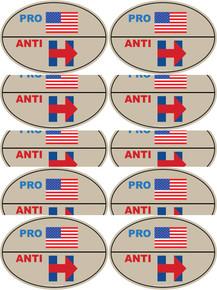 "10 PACK - ""PRO-USA, ANTI-HILLARY"" 4x6 Inch Political Bumper Stickers"