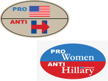 "ANTI-HILLARY COMBO 2 PACK - 1 ""PRO-USA, ANTI-HILLARY"" & 1 ""PRO-WOMEN, ANTI-HILLARY"" 4x6 Inch Political Bumper Stickers"