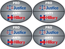 "4 PACK - ""PRO-JUSTICE, ANTI-HILLARY"" 4x6 Inch Political Bumper Stickers"