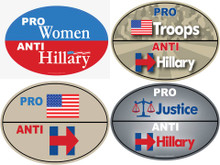 "MEGA 4 PACK - ""PRO-WOMEN, PRO-USA, PRO-TROOPS, PRO-JUSTICE, ANTI-HILLARY"" 4x6 Inch Political Bumper Stickers"