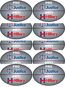 "10 PACK - ""PRO-JUSTICE, ANTI-HILLARY"" 4x6 Inch Political Bumper Stickers"