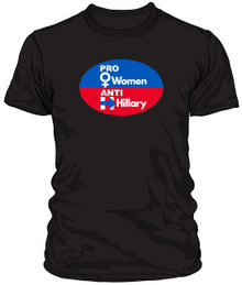 PRO WOMEN, ANTI-HILLARY MEN'S HANES BLACK T-SHIRT