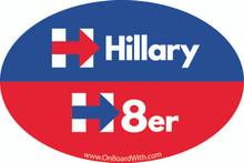 """HILLARY H8er (HATER)"" 4x6 Inch Political Bumper Sticker"