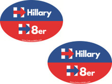 "2 PACK - ""HILLARY H8er (HATER)"" 4x6 Inch Political Bumper Stickers"