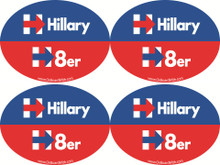 "4 PACK - ""HILLARY H8er (HATER)"" 4x6 Inch Political Bumper Stickers"