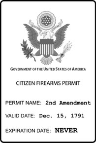 """CITIZEN GUN PERMIT"" PRO 2ND AMENDMENT 4x6 Inch Political Bumper Sticker"