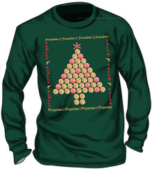 "UGLY CHRISTMAS ""SWEATER"" - SHELL CASINGS CHRISTMAS TREE - MEN'S GILDEN FOREST GREEN LONG SLEEVE T-SHIRT"