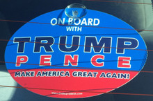 "Plastic Hanging Suction Cup Car Window Political Sign - ""ON BOARD WITH TRUMP / PENCE - MAKE AMERICA GREAT AGAIN!"" 4x6 Inch"