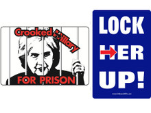 "Combo 2 Pack ""CROOKED HILLARY FOR PRISON"" & ""LOCK HER UP!"" 4x6 Inch Political Bumper Sticker"