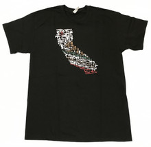 CALIFORNIA STATE CALI FLAG MINI GUNS FIREARMS MEN'S BLACK T-SHIRT
