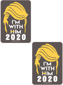 "2 PACK - ""I'M WITH HIM 2020"" President Donald Trump 4x6 Inch Political Bumper Sticker"