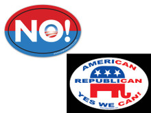 "COMBO 2 PACK - 1 Anti-Obama NObama ""NO!"" & 1 ""AMERICAN, REPUBLICAN, YES WE CAN"" 4x6 Inch Political Bumper Stickers"