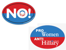 "COMBO 2 PACK - 1 ""PRO-WOMEN, ANTI-HILLARY"" & 1 Anti-Obama NObama ""NO!"" 4x6 Inch Political Bumper Stickers"
