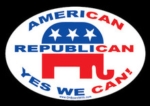 """AMERICAN, REPUBLICAN, YES WE CAN!"" 4x6 Inch Political Bumper Sticker"