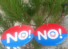 "2 PACK - CHRISTMAS TREE ORNAMENTS ""NOrnaments"" - Anti-Obama NObama Political 4x6 Inch Oval Plastic"