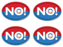 "4 PACK - Anti-Obama NObama ""NO!"" 4x6 Inch Political Bumper Stickers"