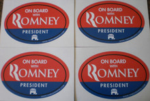"4 PACK - ""ON BOARD WITH ROMNEY"" 4x6 Inch Oval Bumper Stickers"