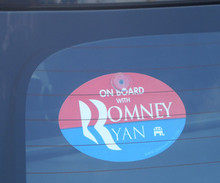 "Plastic Hanging Car Window Sign - ""ON BOARD WITH ROMNEY / RYAN"" 4x6 Inch Oval"