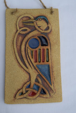 Celtic Bird Plaque made from a textured stoneware clay, coloured glazes and oxide.