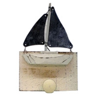 Wooden Sailboat Coat Hook Wood and Tin