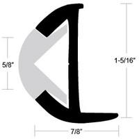 "Taco Marine Aluminum Rub Rail 1-5/16"" x  7/8"" x 12 ft.  A12-0303BLY12D"
