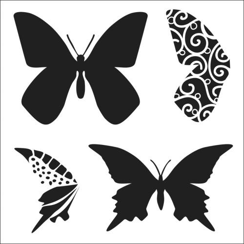 Stencil Layered Butterflies 6 x 6