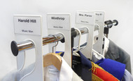 King Size Rack Dividers with Adhesive Business Card Holders on garment rack.