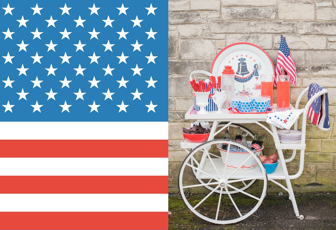 Red White and Blue Vintage Kitchenware for Patriotic Vintage Tea Cart