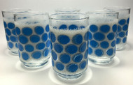 Vintage 1960s Libbey Turquoise Concord Tumblers blue dots set of 6