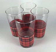 Vintage 1950s Libbey Plaid Glasses Red and Black Set of 4 top view