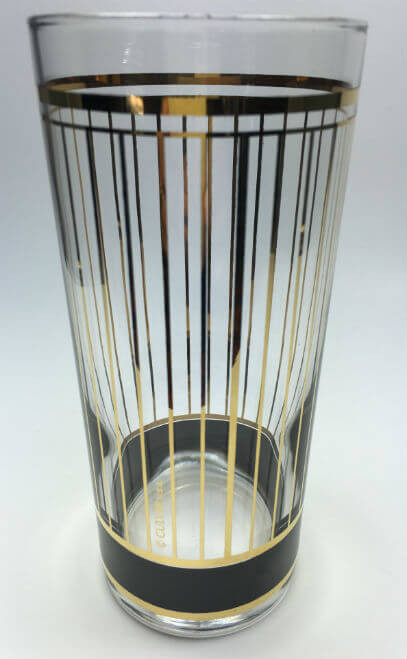 Vintage Culver Devon Black and Gold Tumbler Glass Set of 5