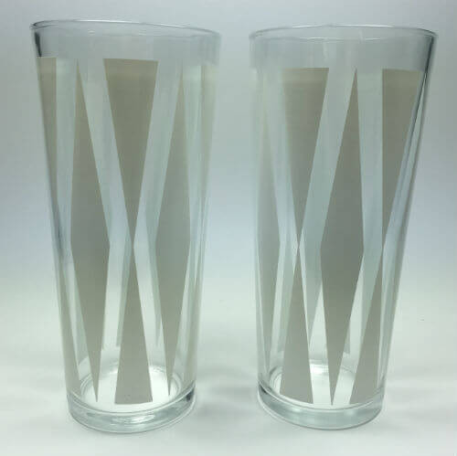 Vintage Geometric Glass Tumblers Diamonds and Triangles Set of 2