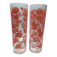 1960s Libbey Tall and Thin Coral Pink Rose Iced Tea Glass Tumblers or Collins
