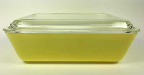 Pyrex Refrigerator Dish with Cover Yellow Set of 2