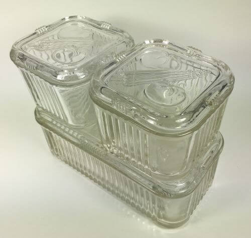 Set of Glass Refrigerator Dishes with Covers Vegetable Motif S6