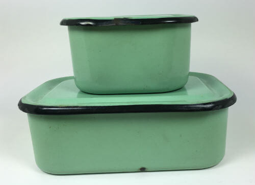Vintage Enamelware Refrigerator Boxes with Covers Lids Green and Black Set of 4