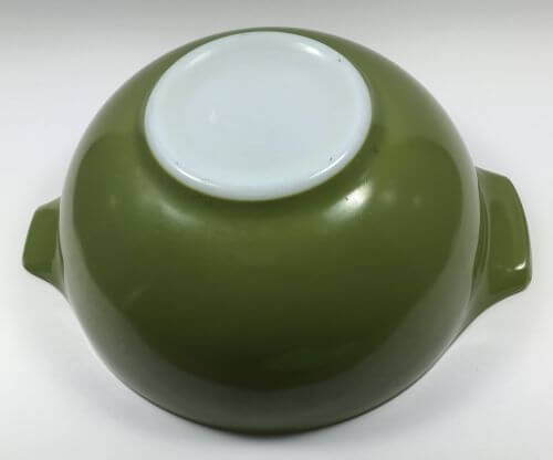 Vintage Pyrex Cinderella Bowl Olive Green 443 2 1/2 QT bottom