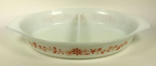 Vintage Pyrex divided casserole white orange floral
