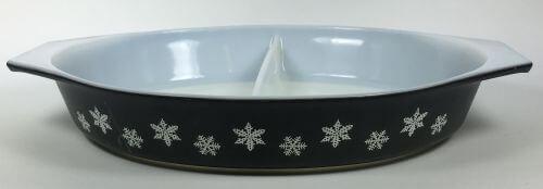 Vintage Pyrex Divided Casserole Black White Snowflakes