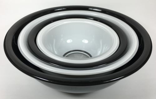 Vintage Pyrex Nesting Bowls Black White Set of 4