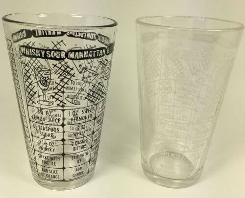 Vintage Pair of Cocktail Mixing Glasses Recipes Black White