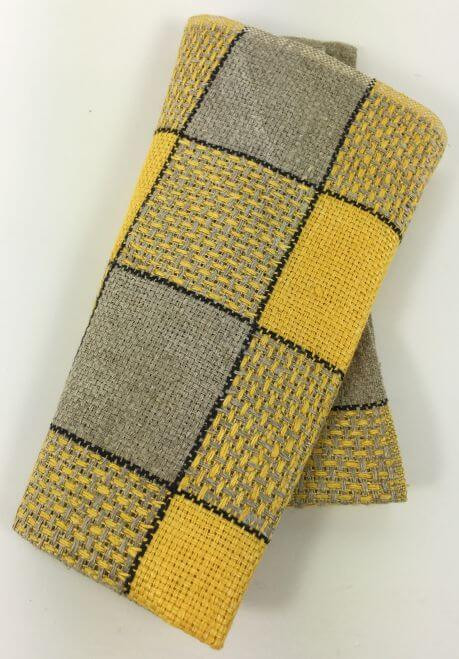 Vintage Napkins Yellow Gray Black Plaid Set of 6