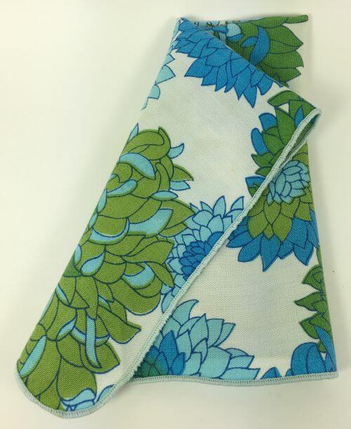 Vintage Napkins Large Blue Green Chrysanthemums Set of 12