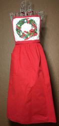 Vintage Full Apron Red Skirt with Quilted Christmas Wreath Top