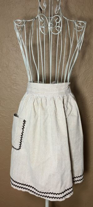 Vintage Half Apron Brown Gingham with Rickrack Trim