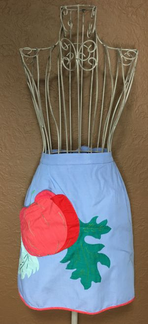 Vintage Half Apron Blue with Red Trim and Apple Peach Pocket