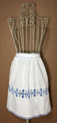 Vintage Half Apron White with Blue and White Eyelet Detail