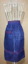 Vintage Half Apron Blue Sheer Red Trim