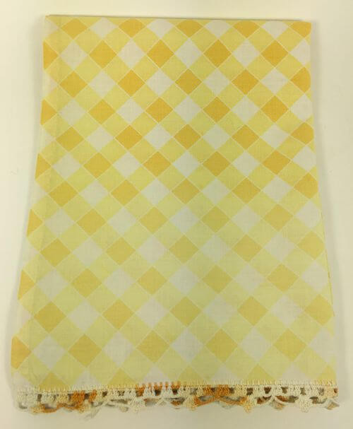 Vintage Kitchen Towel Yellow and White Checkered Ombre
