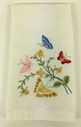 Vintage Kitchen Towel Embroidered Butterflies